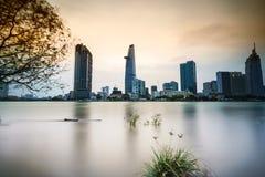Wielki metropolii nocy strzał, Ho Chi Minh miasto Zdjęcie Stock