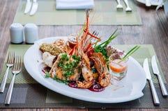 Wielki mieszanka owoce morza półmisek - krewetek kałamarnic łosoś Polędwicowy, piec na grillu obraz stock