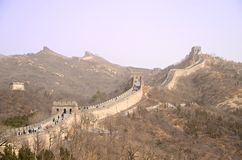 Wielki mur Chiny Przeciw Purpurowemu niebu Obrazy Royalty Free