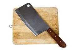 Wielki nóż siedzi na drewnianej ciapanie desce odizolowywającej na bielu Obrazy Royalty Free