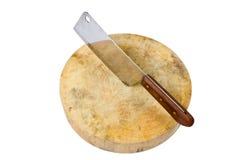 Wielki nóż siedzi na drewnianej ciapanie desce odizolowywającej na bielu Zdjęcie Stock