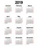 Wielki nowy ścienny kalendarz 2019 również zwrócić corel ilustracji wektora Obraz Stock