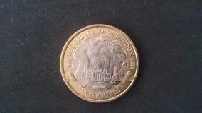 wielki ogień Londyn £2 moneta Zdjęcia Stock