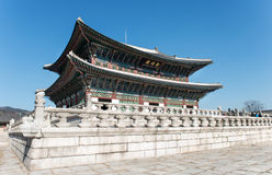 Wielki pałac budował w Joseon dynastii w Korea Budynki które symbolizują Joseon rodziny królewskiej zdjęcie stock
