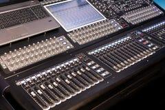 Wielki panel scena kontroler z ekranami Fotografia Stock