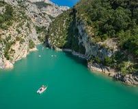 Wielki panoramiczny widok Lac, Provence (du) (jezioro De sainte-Croix i Grand Canyon Du Verdon) zdjęcia stock