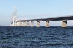 Wielki paska most dzwonił storebaelt w Duńskim zdjęcia stock