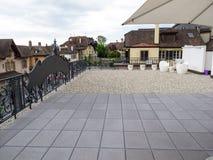 Wielki patio na budynku w mieście Obrazy Royalty Free