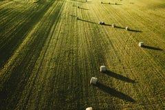 Wielki piękny rolniczy pole z stertami strzelać z góry siano obraz stock
