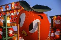 Wielki pomarańcze znak przy pobocze owocowym stojakiem, Południowy FL Fotografia Royalty Free