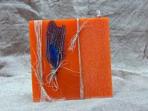 wielki pomarańczowy wosk świecy Fotografia Stock