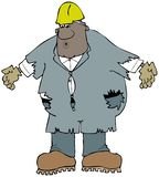 Wielki pracownik budowlany jest ubranym starych, szargających coveralls, ilustracji