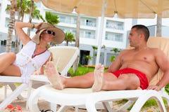 Wielki relaksuje para wakacje fotografia royalty free