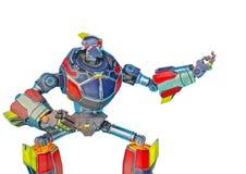 Wielki robot w przychodzi tutaj i dostaje niektóre na białym bacground royalty ilustracja