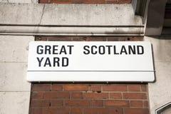 Wielki Scotland Yard znak uliczny; Westminister; Londyn Obrazy Stock