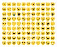 Wielki set 99 kolorów żółtych emocja odizolowywająca na bielu Emoji ilustracja wektor