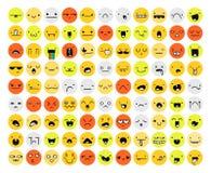 Wielki set 99 kolorów emocja odizolowywająca na bielu Emoji royalty ilustracja