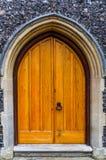 Wielki stary drewniany drzwi w żółtym kolorze Zdjęcie Stock