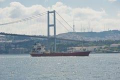 Wielki statek pod zawieszenie mostem na rzece zdjęcie royalty free