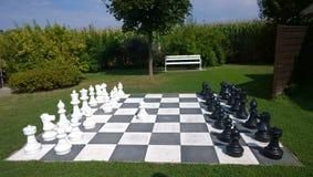 Wielki szachy w parku na zielonym gazonie Zdjęcie Royalty Free