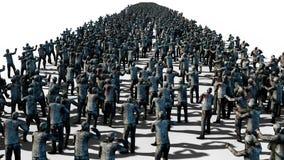 Wielki tłum żywi trupy Apokalipsa, Halloween pojęcie Odizolowywa na bielu świadczenia 3 d Obrazy Royalty Free