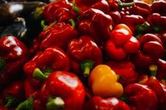Wielki Targowy Hall - jedzenie rynek w Budapest, Węgry Świezi warzywa i pikantność sprzedający Ładni naturalni czerwoni pieprze i obrazy stock