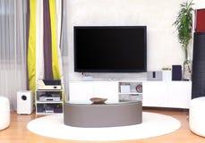 Wielki TV żywy pokój Zdjęcia Stock