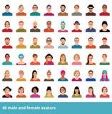 Wielki ustawiający avatars różnorodna samiec i kobieta ilustracji
