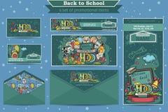 Wielki ustawiający promocyjne rzeczy na szkolnym temacie Zdjęcia Stock