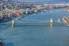 Wielki widok Łańcuszkowy most i rzeczny Danube od cytadeli obraz royalty free
