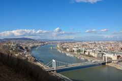 Wielki widok Budapest i rzeczny Danube od cytadeli obraz stock