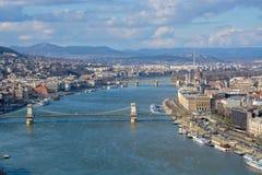 Wielki widok Budapest i rzeczny Danube od cytadeli zdjęcia royalty free