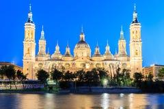 Wielki wieczór widok Pilar katedra w Zaragoza zdjęcie stock