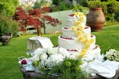Wielki wielopoziomowy dekoracyjny ślubny tort obrazy stock
