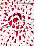 Wielki wybucha czerwony bauble z Rudolph czerwony ostrożnie wprowadzać renifer o obraz royalty free