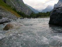 Wielki wysokogórskiego lodowa strumień Szwajcaria, Unterstock, Urbachtal Obrazy Stock