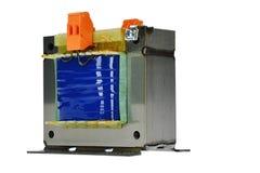 Wielki zbawczy transformator dla 400 V, 230 V elektrycznego prądu transformacja, biały tło Fotografia Stock