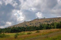 Wielkie białe kopuły na górze Petri w Crimea Badawcza stacja obraz royalty free