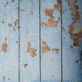 Wielkie stare drewniane błękitne deski z rozdrabnianie farbą cieniącą Obraz Royalty Free