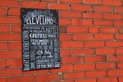 Wielkiego chalkboard znaka blagierscy wydarzenia i przyciągania, Cleveland, Ohio, 2016 Zdjęcia Stock