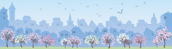 wielkiego miasta tła grunge ilustracyjna miejskiego panorama zaprojektował wektora Obraz Royalty Free