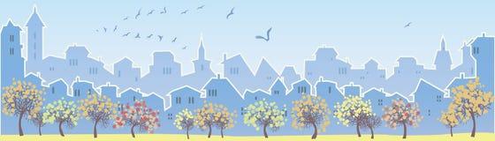 wielkiego miasta tła grunge ilustracyjna miejskiego panorama zaprojektował wektora Fotografia Stock