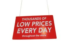 wielkiej czerwonej sprzedaży detalicznej zakupy błyszczący znak Obraz Royalty Free