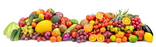 Wielkiej kolekci zdrowe owoc, warzywa, jagody, odosobniony o Fotografia Royalty Free