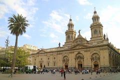 Wielkomiejska katedra Santiago Stawia czoło Plac De Armas główny plac Santiago stolica Chile, 11th 2018 Kwiecień obraz stock