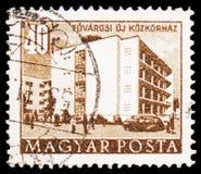 Wielkomiejski szpital, budynki plan pięcioletni w Budapest seria około 1958, obraz stock