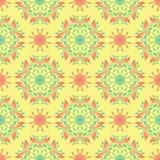 Wielo- barwiony bezszwowy kwiecisty tło Różowy błękitnej zieleni i koloru żółtego wzór Fotografia Royalty Free