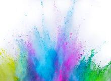 Wielo- barwiony prochowy wybuch odizolowywający na bielu obrazy stock