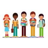 Wielo- grupa etnicza szkolni uczni dzieciaki royalty ilustracja