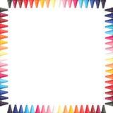 Wielo- koloru ołówków pastelowa granica odizolowywająca (kredkowa) Fotografia Royalty Free